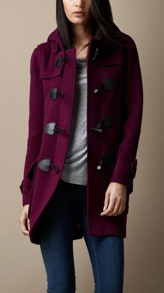 Burberry Wool Fitted Duffle Coat In Purple Deep Purple