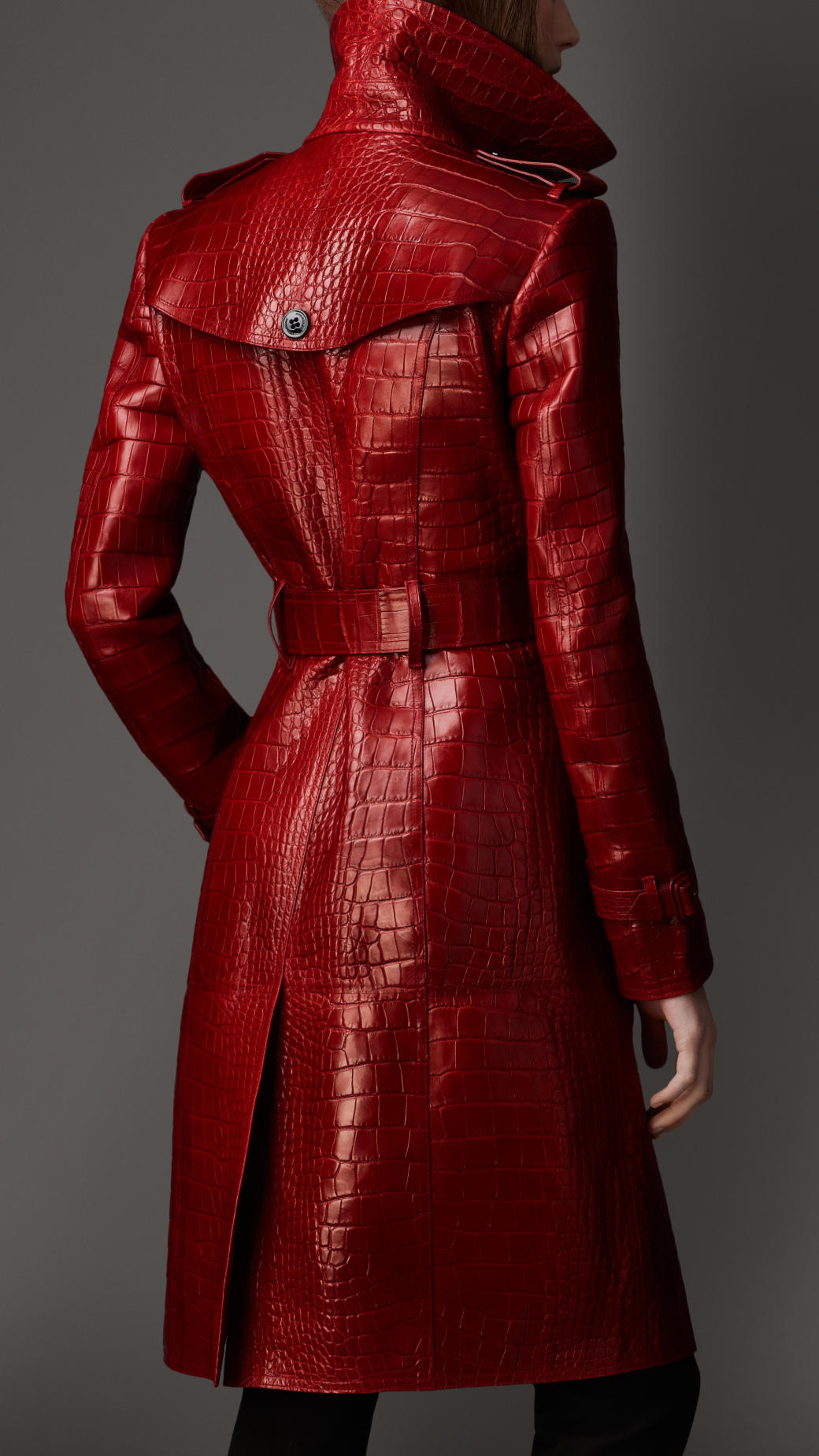 Burberry Long Alligator Leather Trench Coat In Red Lyst