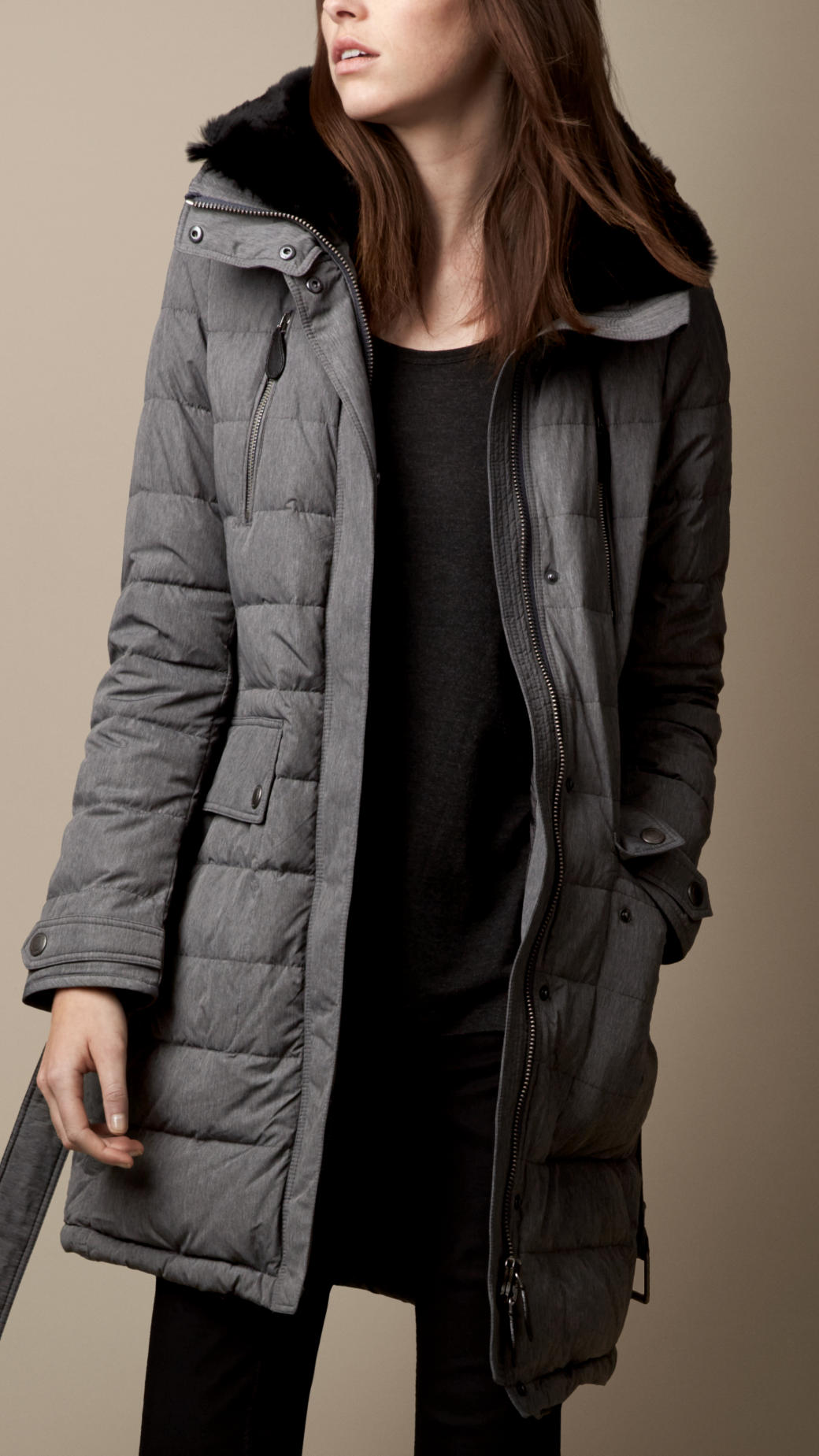 Burberry Fur Trim Belted Puffer Coat In Gray Lyst
