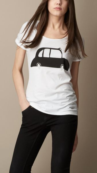Burberry London Graphic Cotton T-shirt in White