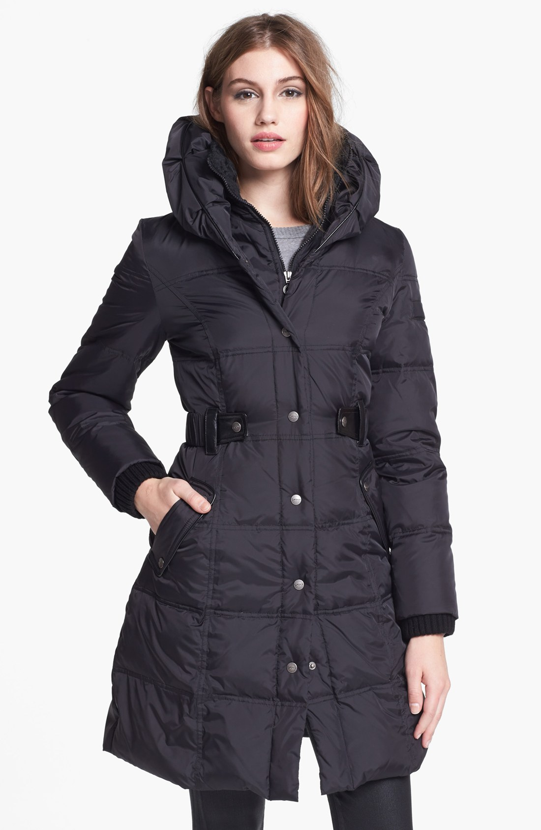 Dkny Faux Leather Trim Quilted Coat in Black | Lyst