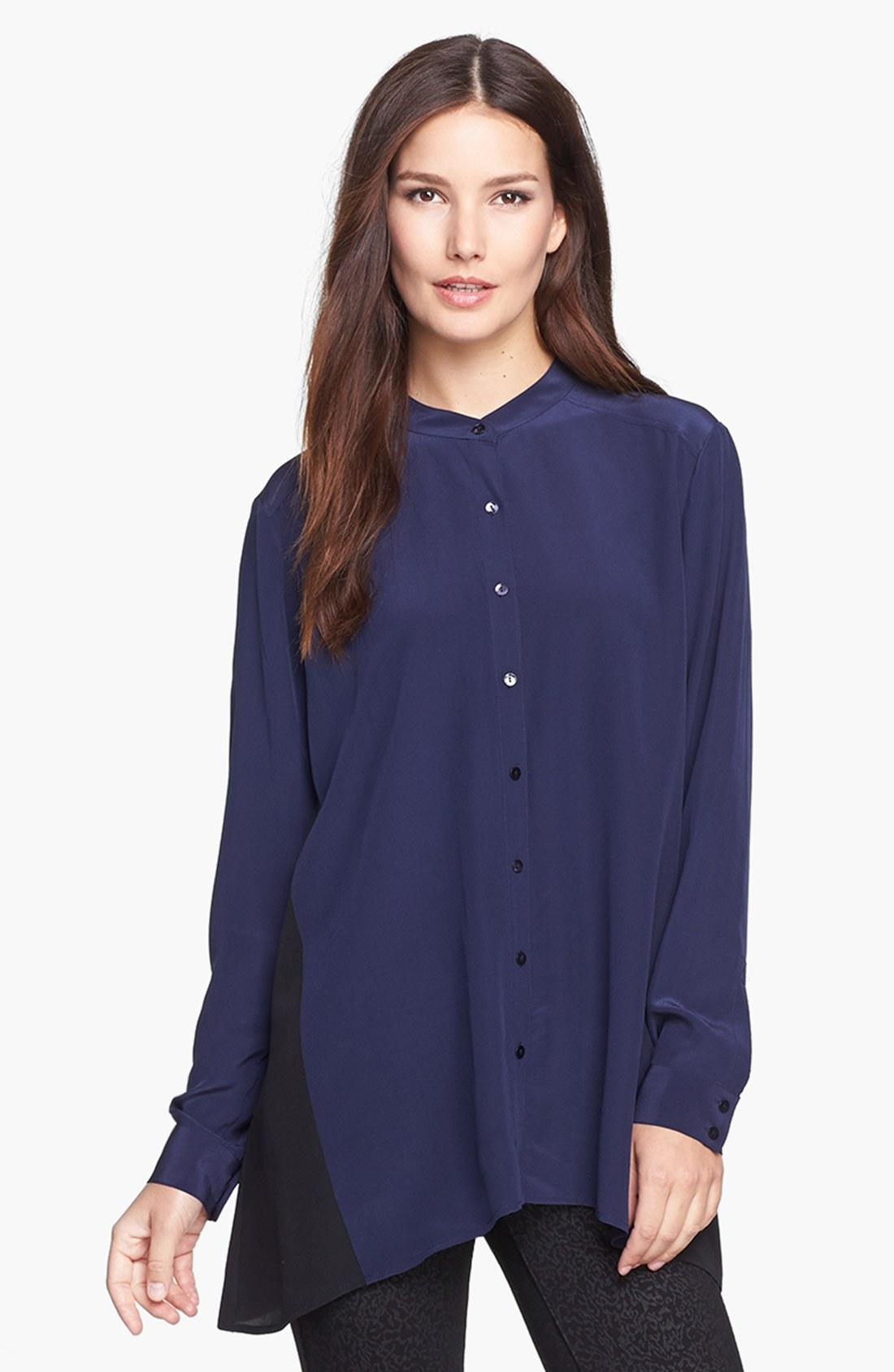 eileen fisher mandarin collar silk shirt in blue midnight