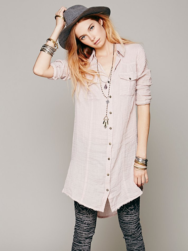 6d8ba9f4 Free People Solid Double Cloth Buttondown Tunic in Natural - Lyst