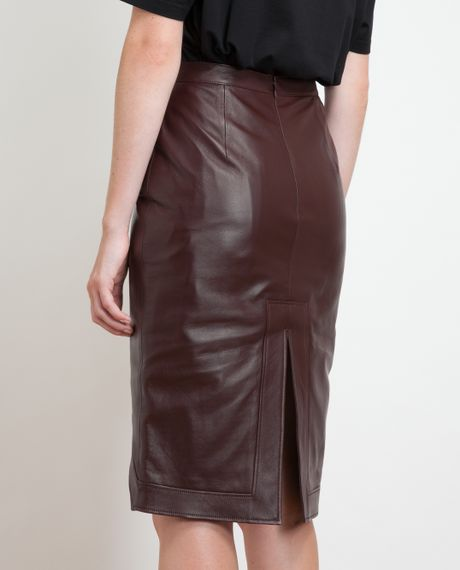 givenchy leather pencil skirt in brown