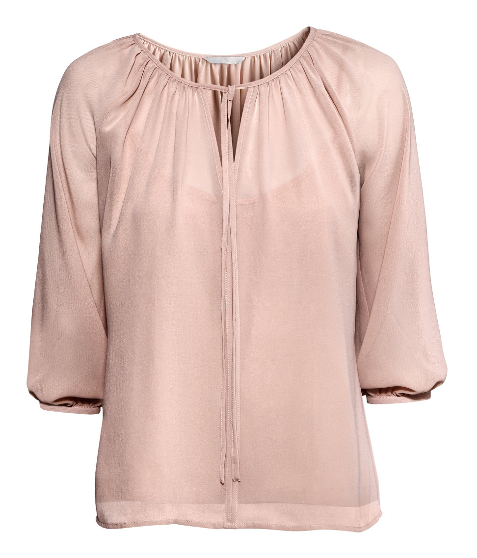 Lyst H M Chiffon Blouse In Pink