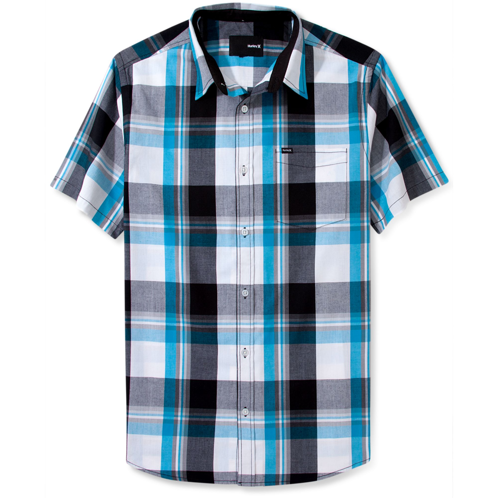 Hurley short sleeve plaid shirt in blue for men black lyst Short sleeve plaid shirts