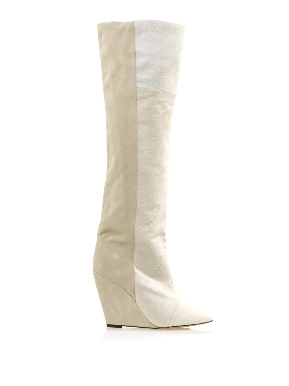 Isabel Marant Shelia Pony Hair and Suede Boots in White