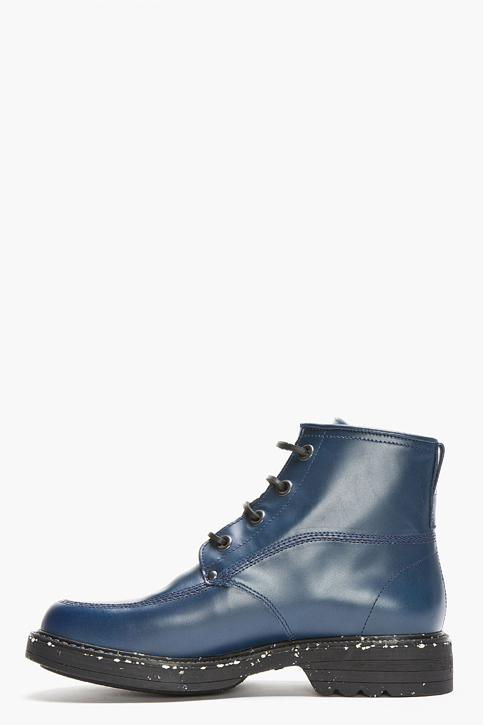 Kenzo Dark Teal Leather Speckled Ronnie Military Boots In