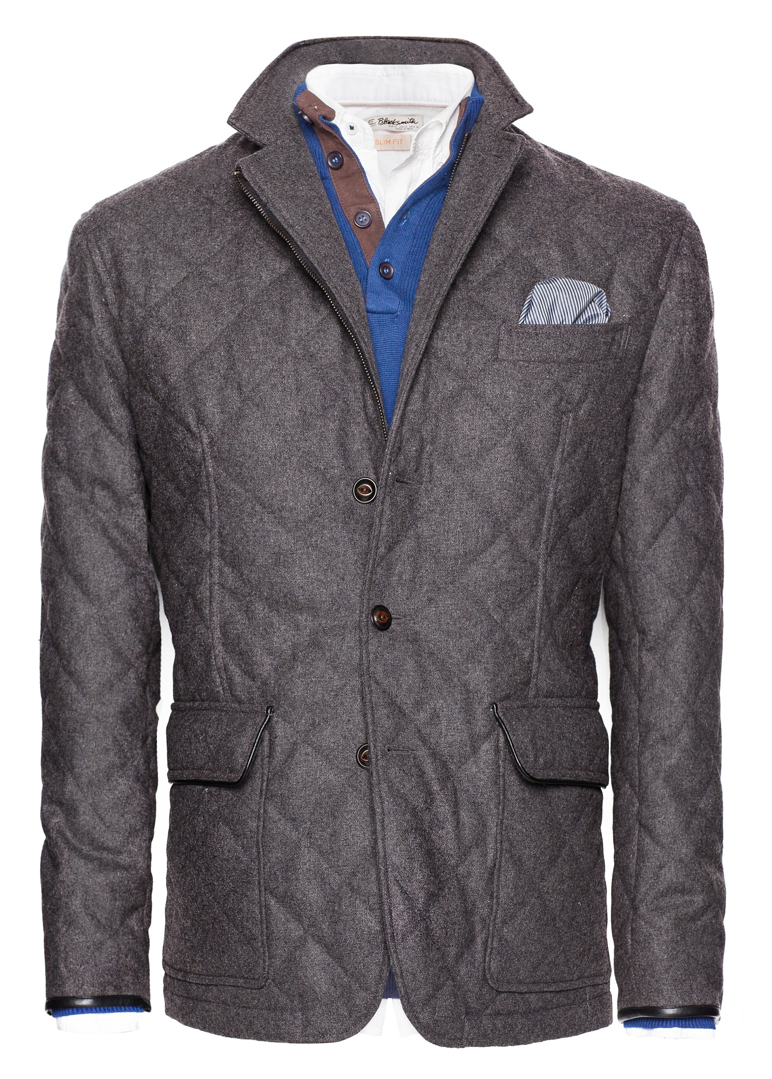 Mango Herringbone Husky Jacket In Gray For Men Dark Grey