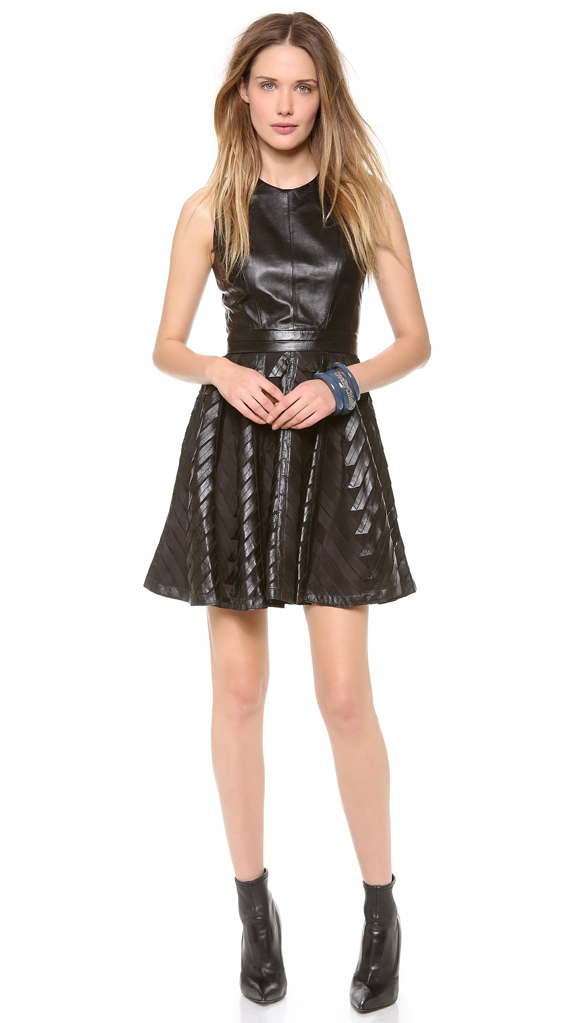 Lyst Milly Chevron Leather Circle Dress In Black