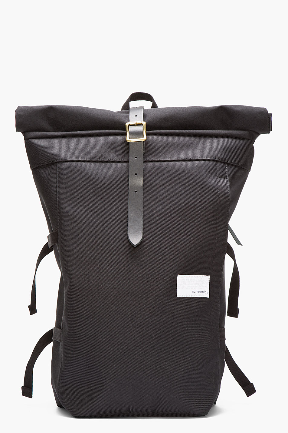 Nanamica Black Roll Top Cycling Backpack In Black For Men