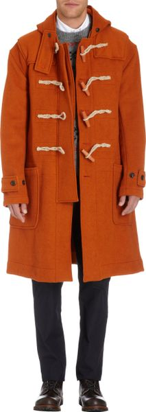 Nigel Cabourn Duffel Coat In Orange For Men Lyst