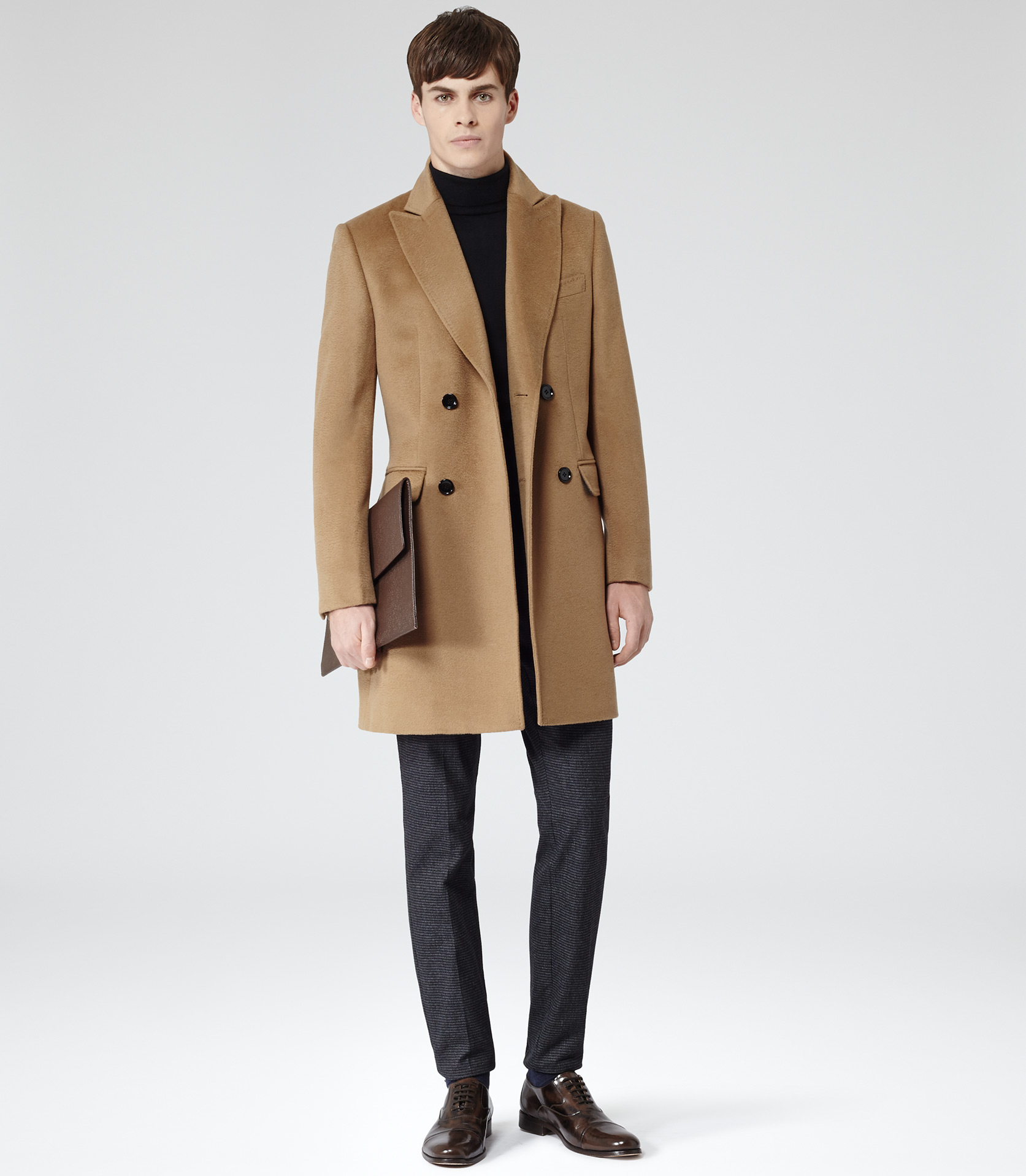 Reiss Kanye Double Breasted Coat Lapel In Camel Brown