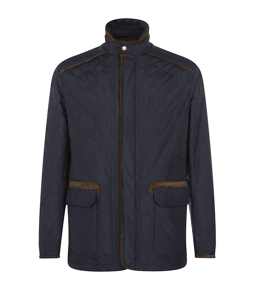 Stefano Ricci Silk Quilted Jacket In Blue For Men Lyst