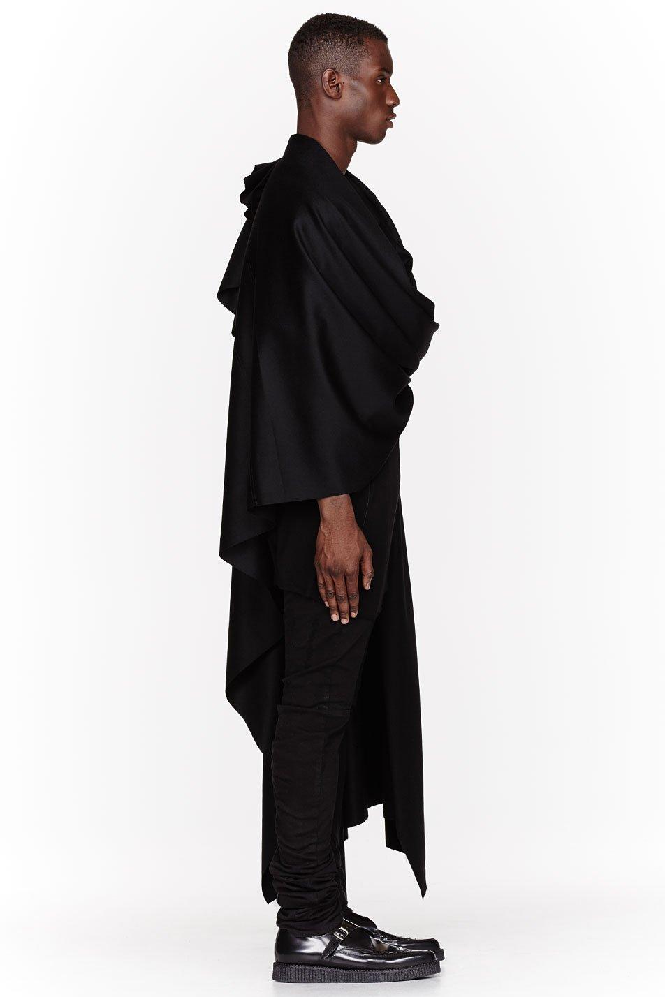 Lyst Thamanyah Black Fleece And Angora Ehram Cape In