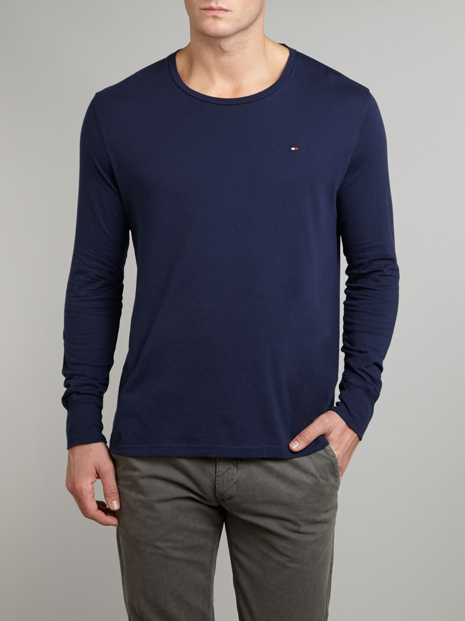 tommy hilfiger long sleeved t shirt in blue for men lyst. Black Bedroom Furniture Sets. Home Design Ideas