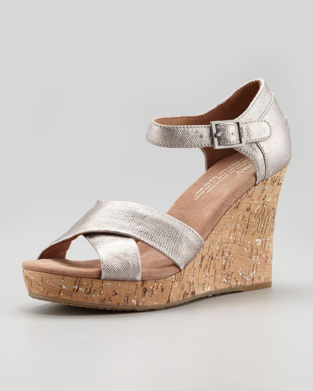 Toms Metallic Cork Wedge Sandal Pewter In Silver Pewter