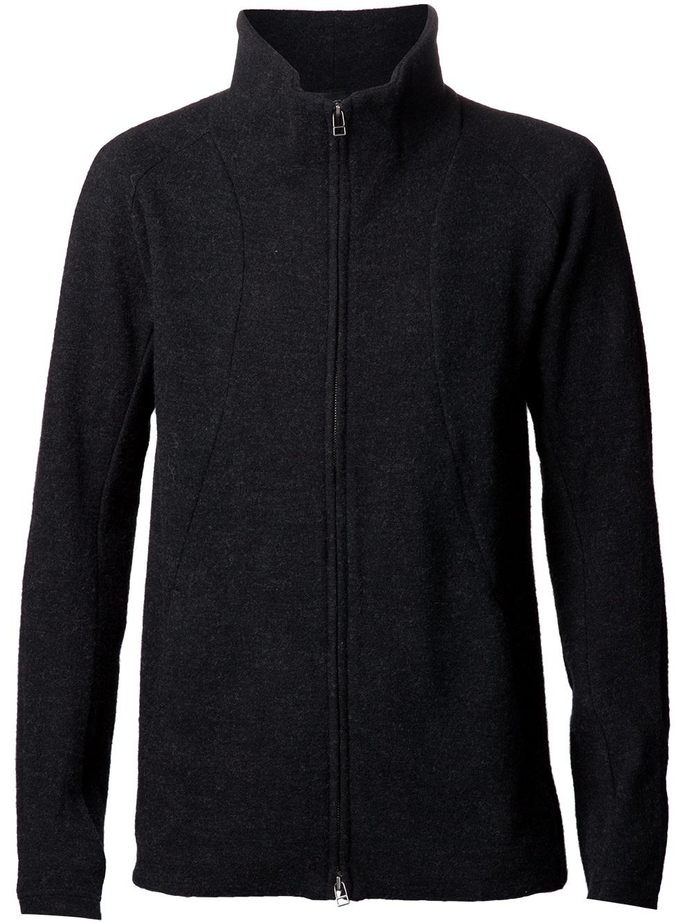 The viridi-anne Zip Up Cardigan in Black for Men