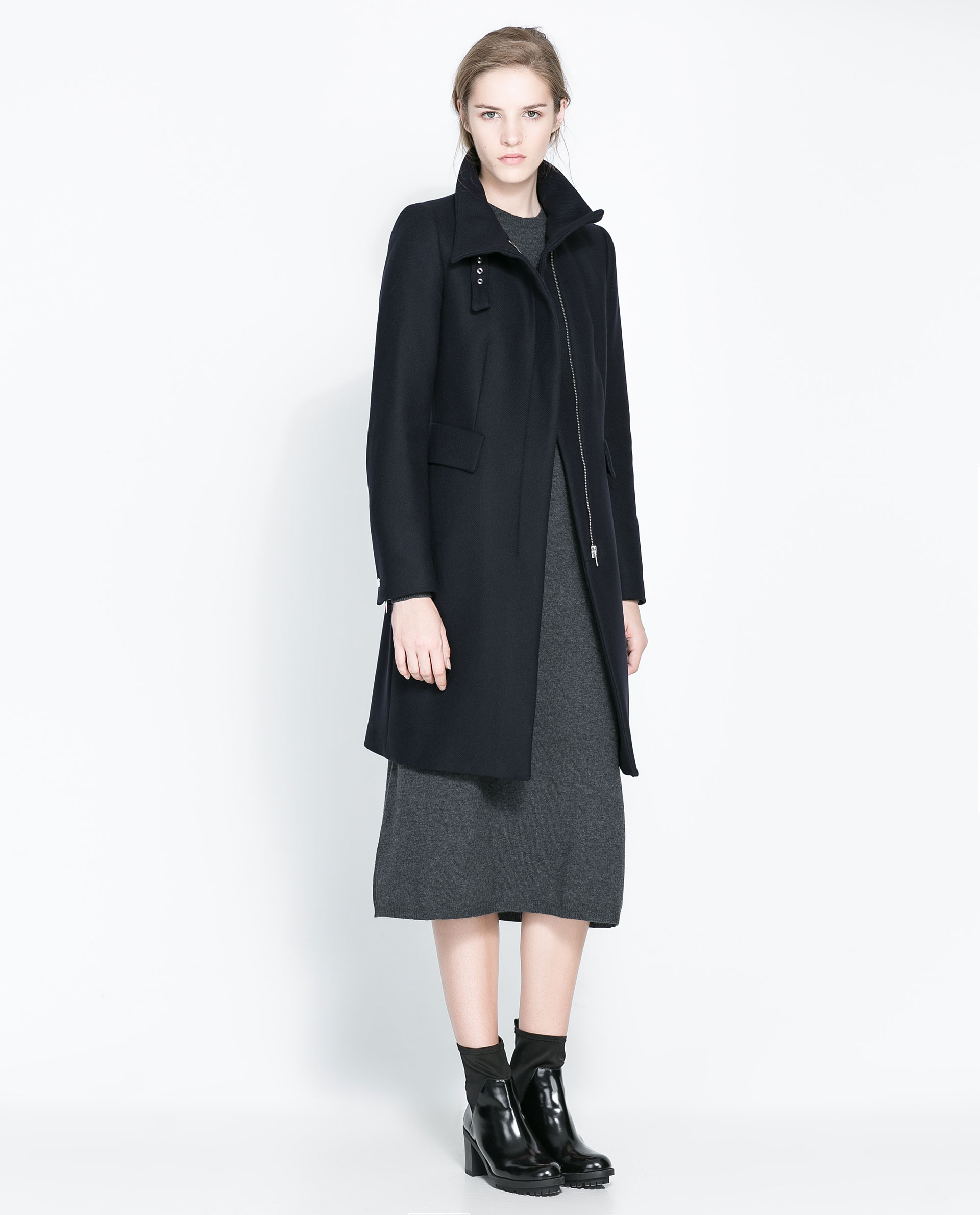 Zara Coat with Buckle Collar and Zip in Blue | Lyst
