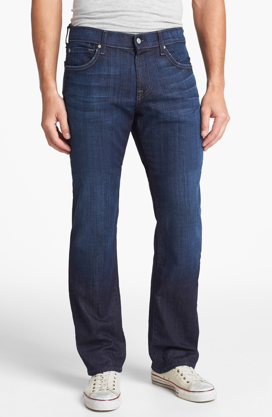 for all mankind austyn relaxed straight leg jeans in blue for men. Black Bedroom Furniture Sets. Home Design Ideas