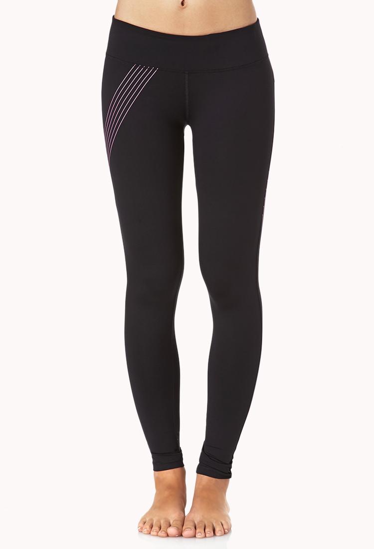 Forever 21 Neon Stripe Skinny Workout Leggings in Black - Lyst