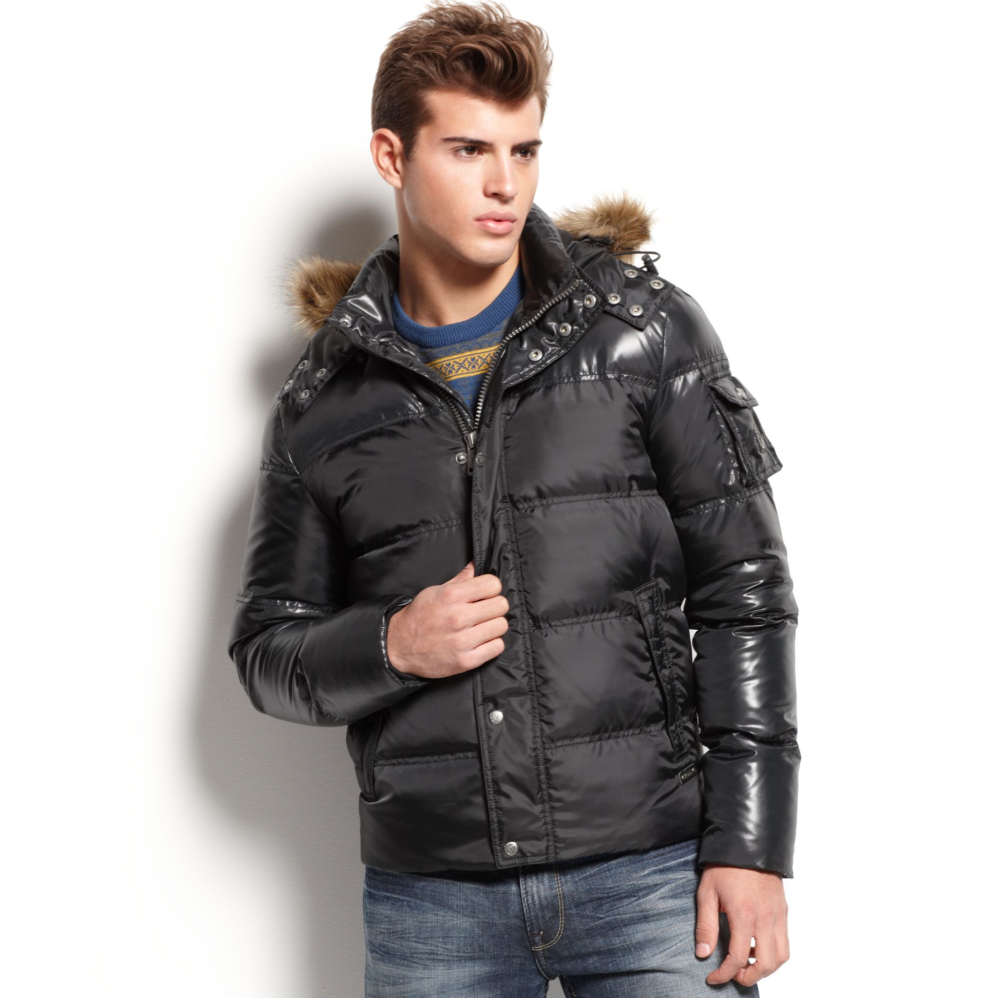 45c663721bc1 Lyst - Guess Faux Fur Hooded Puffer Jacket in Black for Men