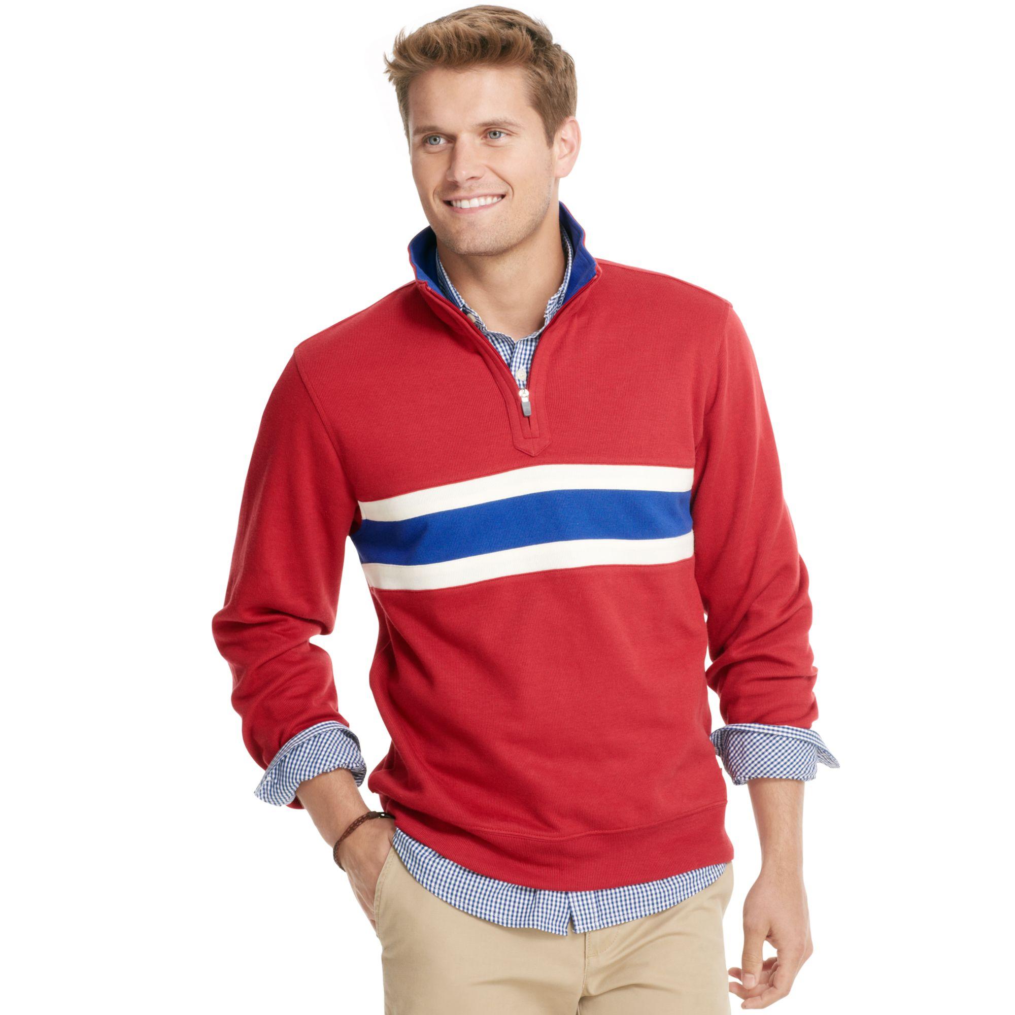 Izod Sweater Quarter Zip Mock Neck Striped French Rib Knit ...