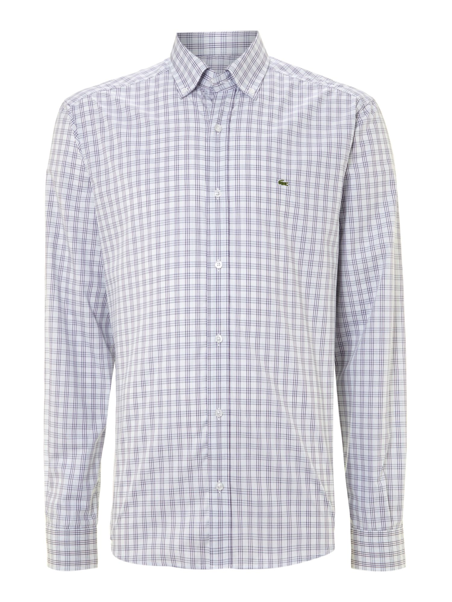 Lyst lacoste slim fit fine poplin check shirt in blue for Slim fit check shirt