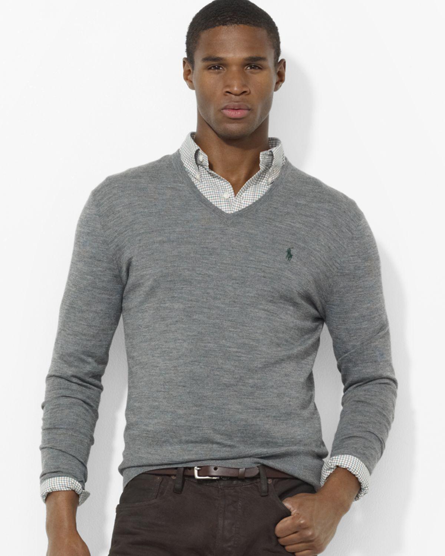 5f93e52b Ralph Lauren Gray Polo Merino Wool V Neck Sweater for men