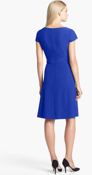 Tahari Crepe Fit Flare Dress In Blue Cobalt Lyst