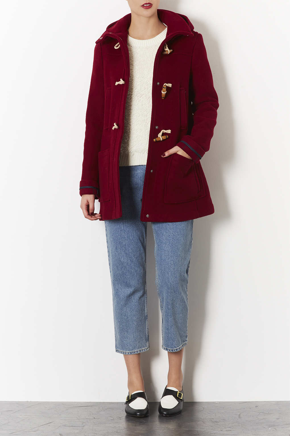Topshop Bound Seam Duffle Coat in Red | Lyst