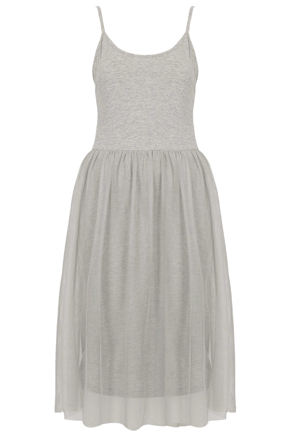 Lyst Topshop Tulle Strappy Midi Dress In Gray