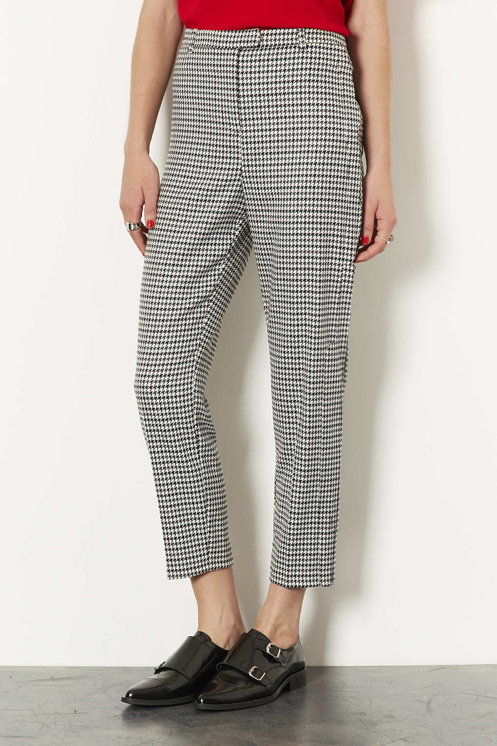 shoes for cheap meet best loved Petite Puppytooth Cigarette Trousers