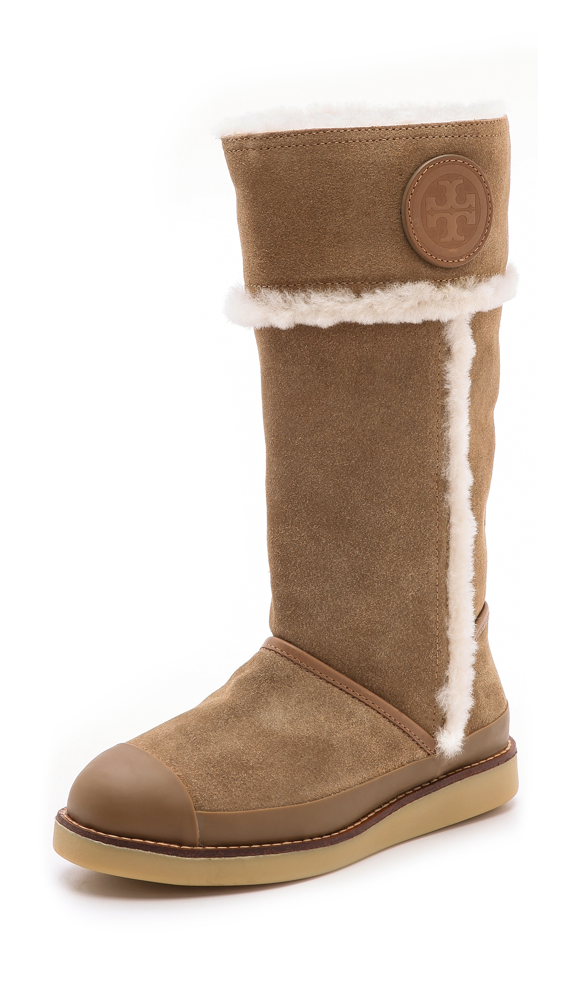 Lyst Tory Burch Nadine Mid Shaft Boots In Brown