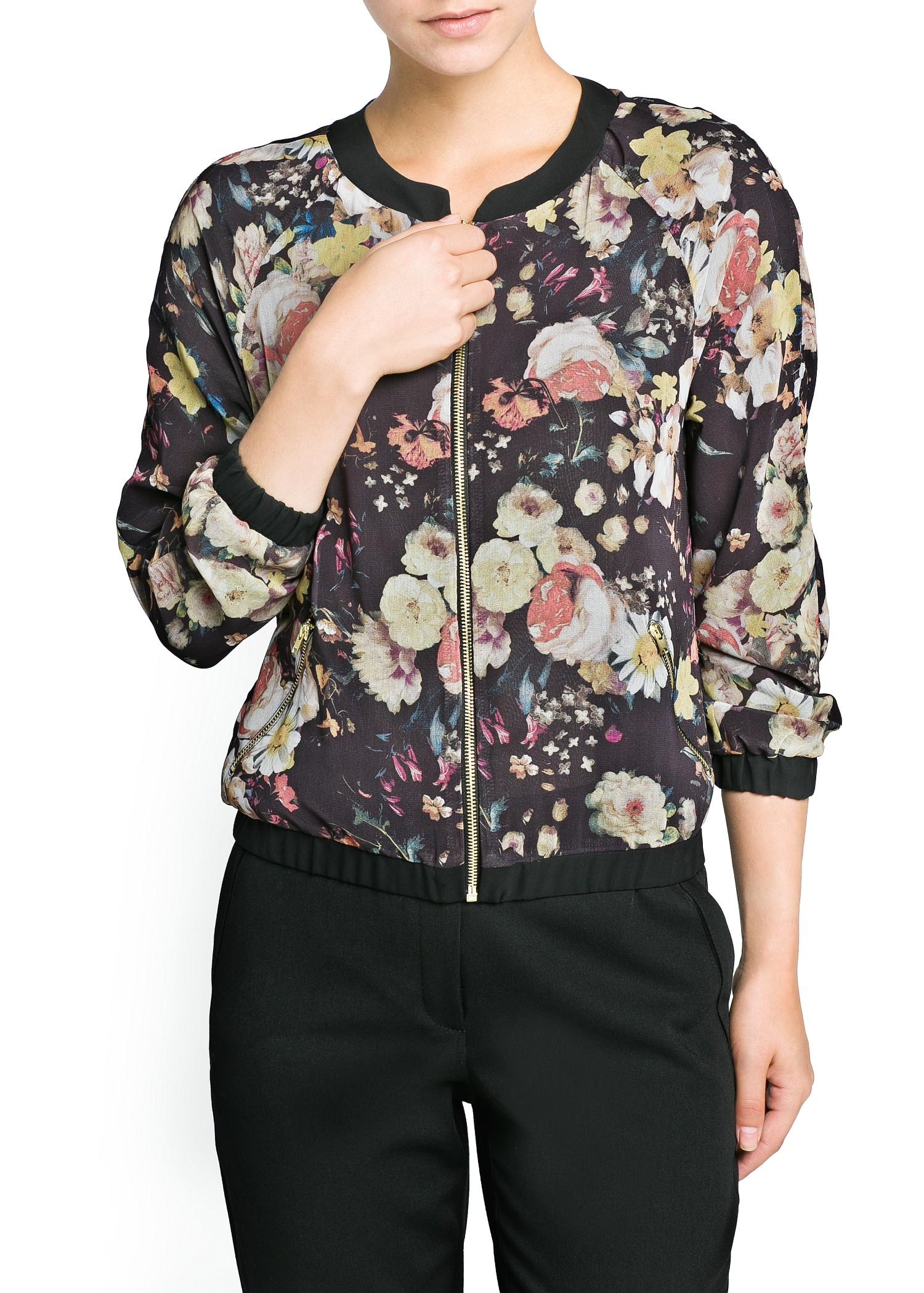 Mango Floral Chiffon Bomber Jacket In Black Lyst