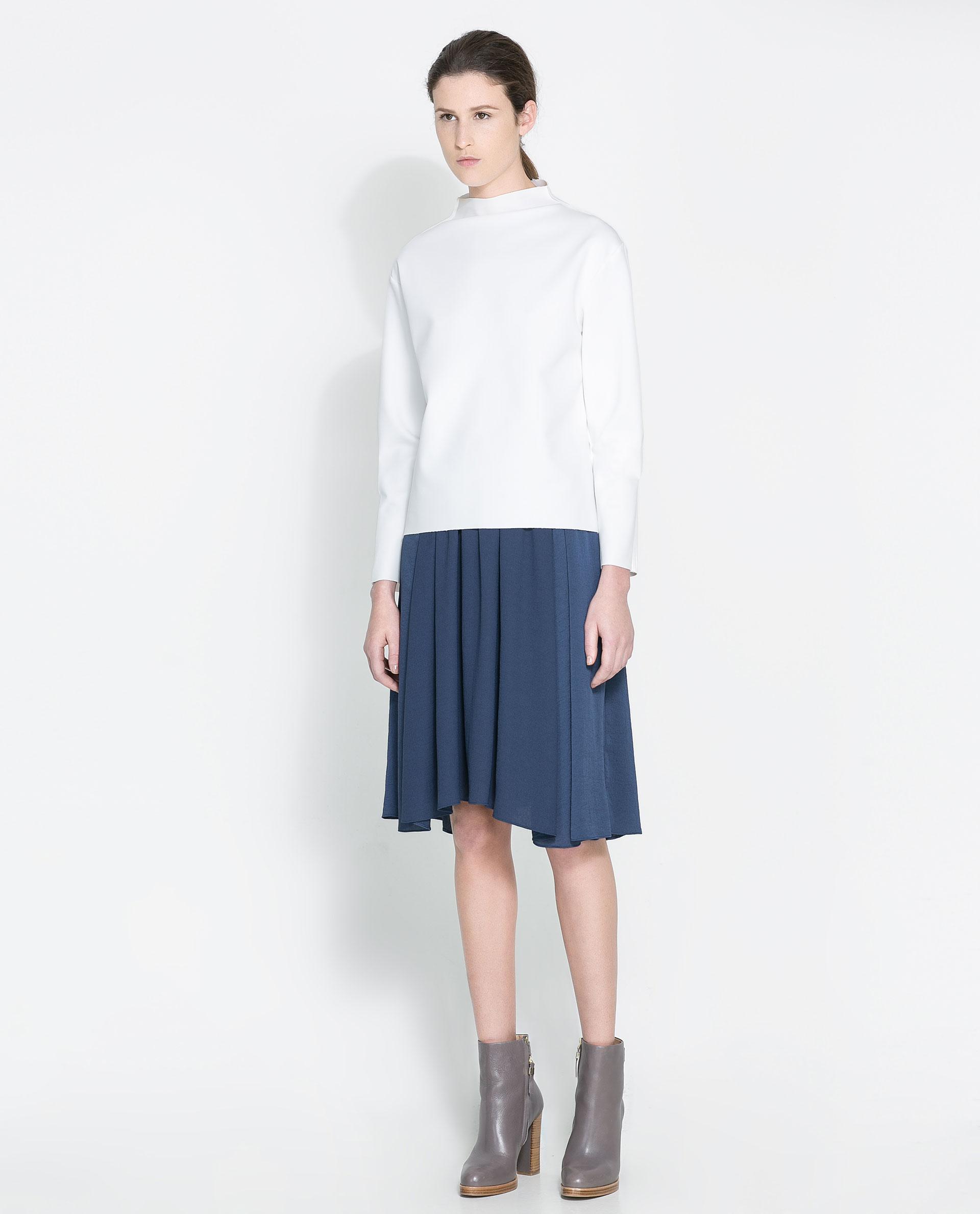 Zara Flowing Midi Skirt in Blue | Lyst