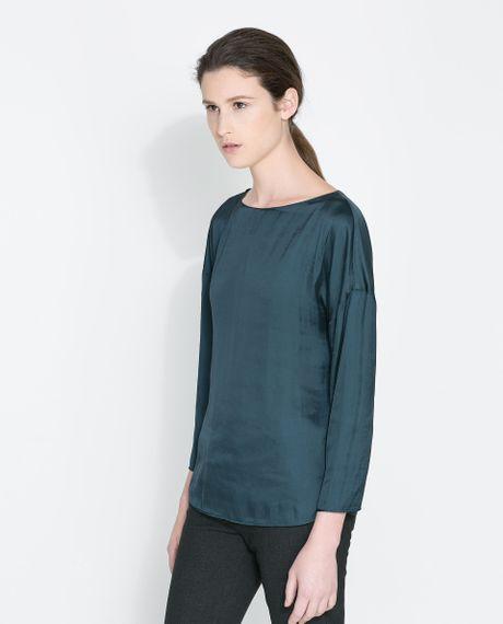 Zara Forest Green Blouse 10