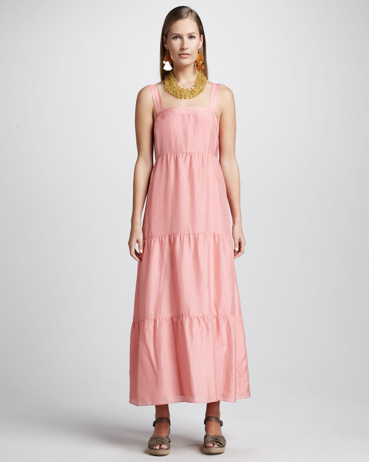 3bc922541a5 Lyst - Eileen Fisher Silk Tiered Maxi Sundress in Pink