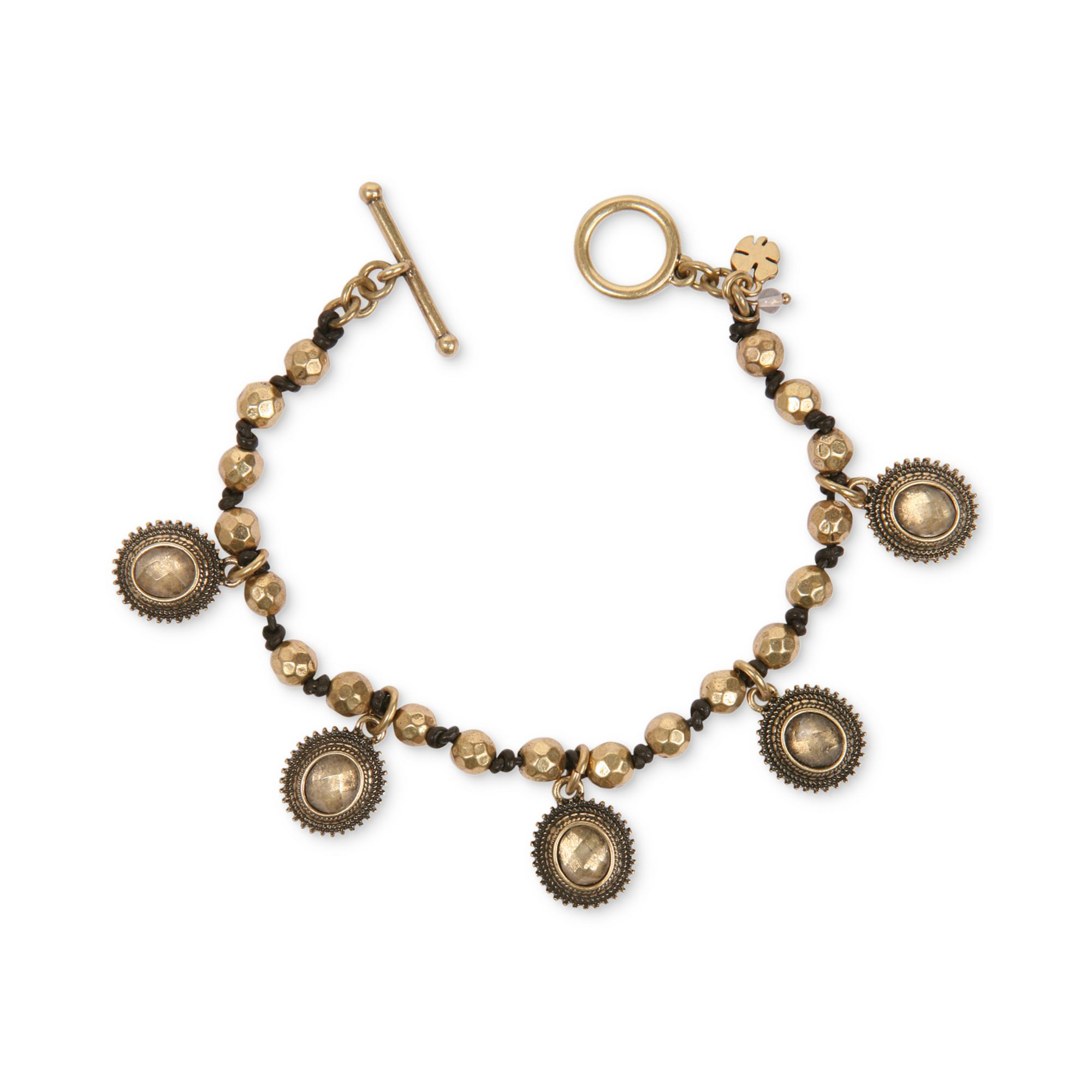 lucky brand goldtone dangling medallion charm bracelet in. Black Bedroom Furniture Sets. Home Design Ideas