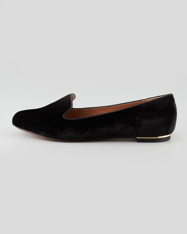 54b3eea119e Lyst - Rachel Zoe Zahara Velvet Smoking Slipper Black in Black