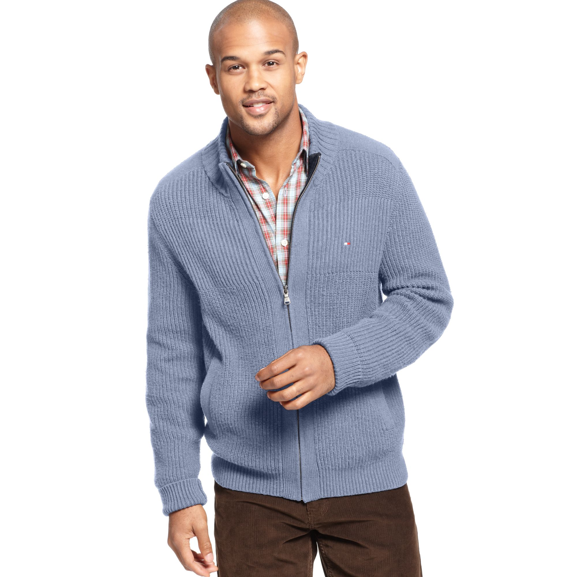 tommy hilfiger zip sweater gray cardigan sweater. Black Bedroom Furniture Sets. Home Design Ideas