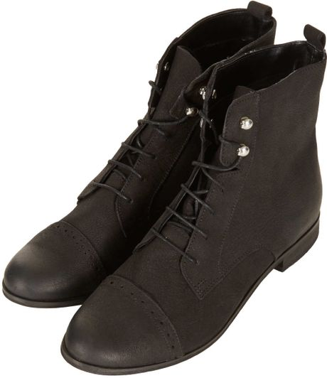 topshop malta leather brogue boots in black lyst