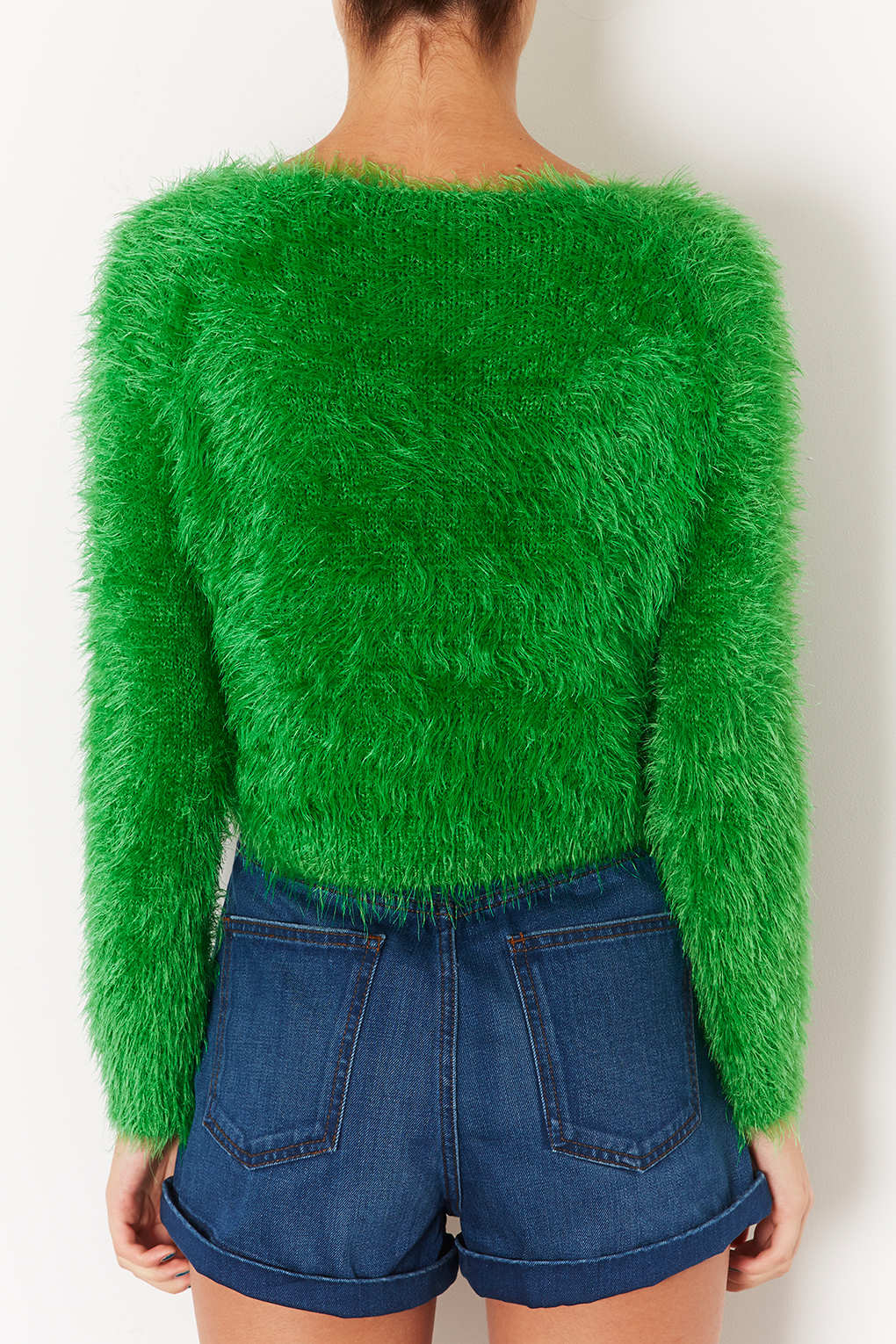 Topshop Knitted Fluffy Crop Jumper in Green Lyst