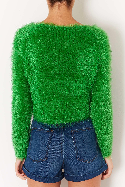 Knitting Pattern Fluffy Jumper : Topshop Knitted Fluffy Crop Jumper in Green Lyst