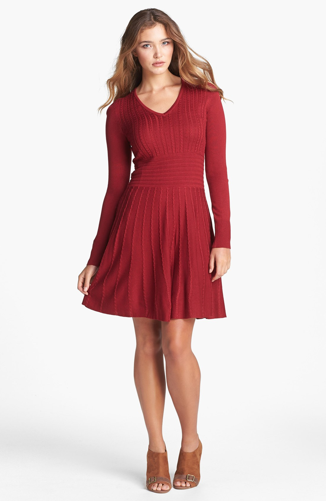 Vince Camuto Fit Flare Sweater Dress In Red Lyst