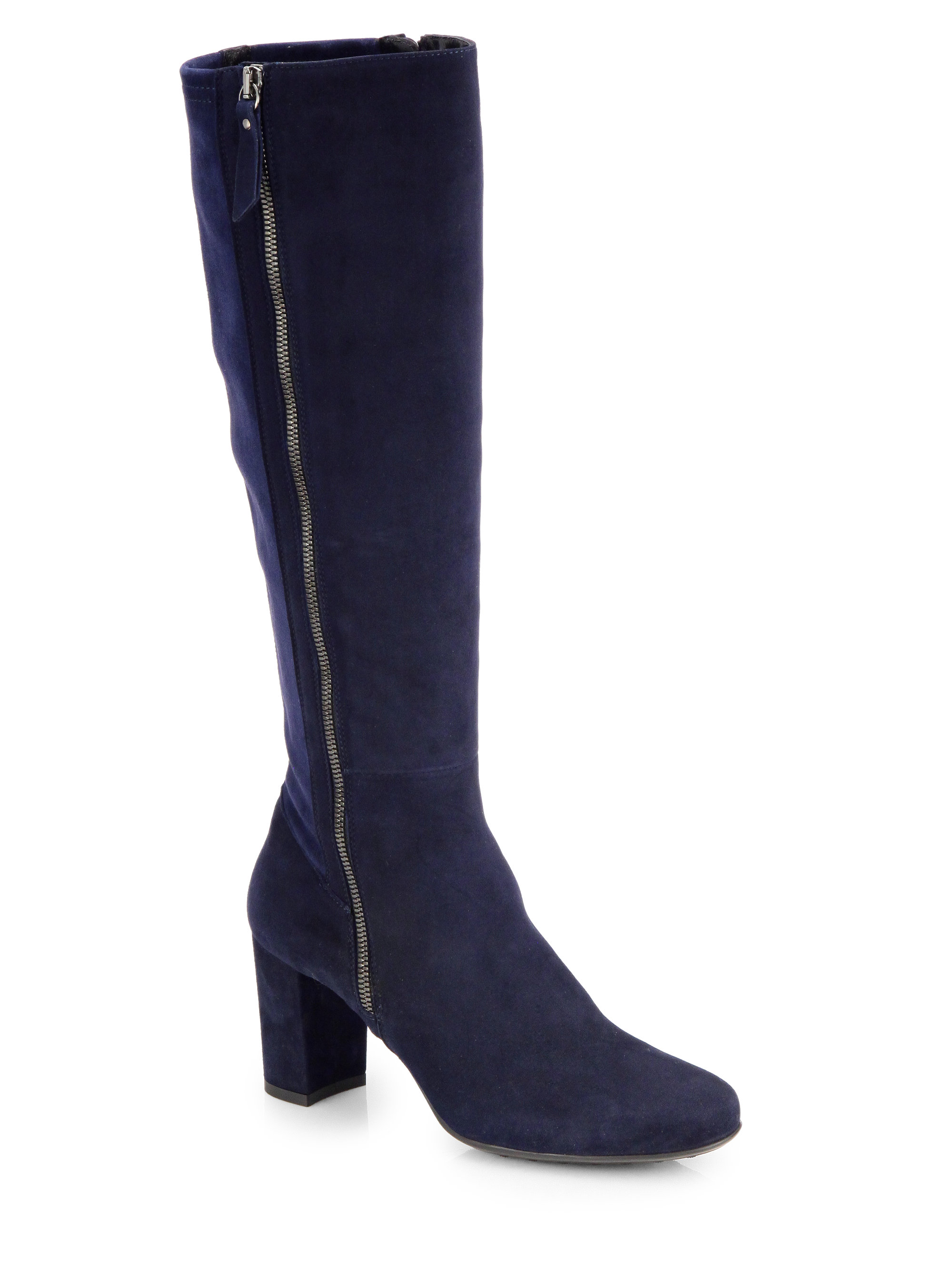 Aquatalia By Marvin K Trina Suede Tall Zip Boots In Blue