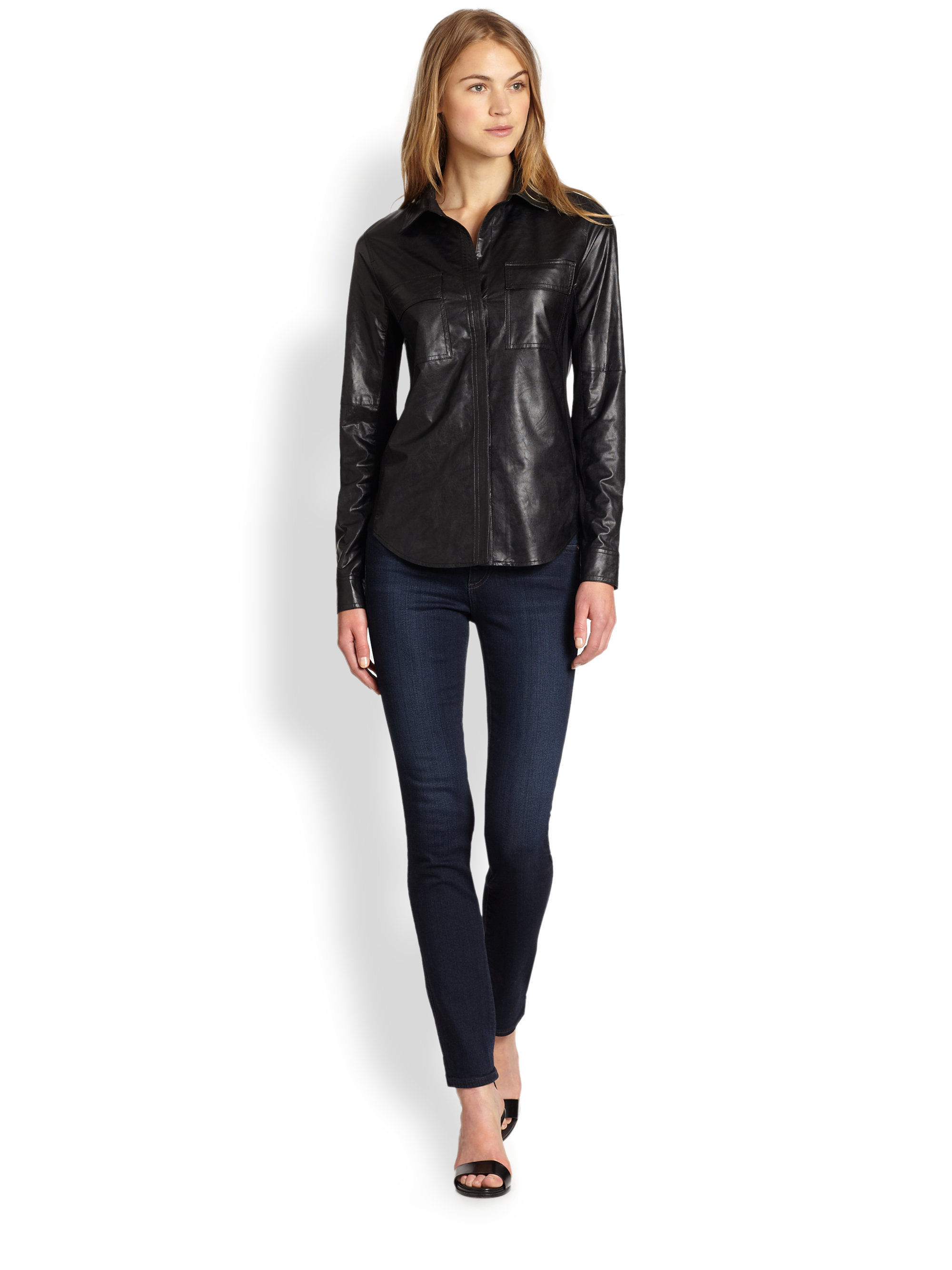 Lyst bcbgmaxazria faux leather combo shirt in black for Red leather shirt for womens