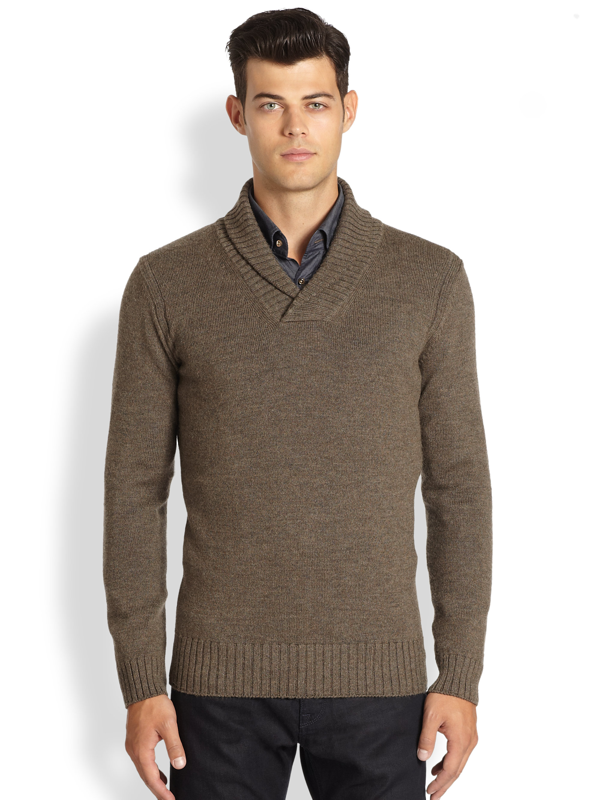 boss by hugo boss mustafa shawl collar sweater in brown for men dark. Black Bedroom Furniture Sets. Home Design Ideas