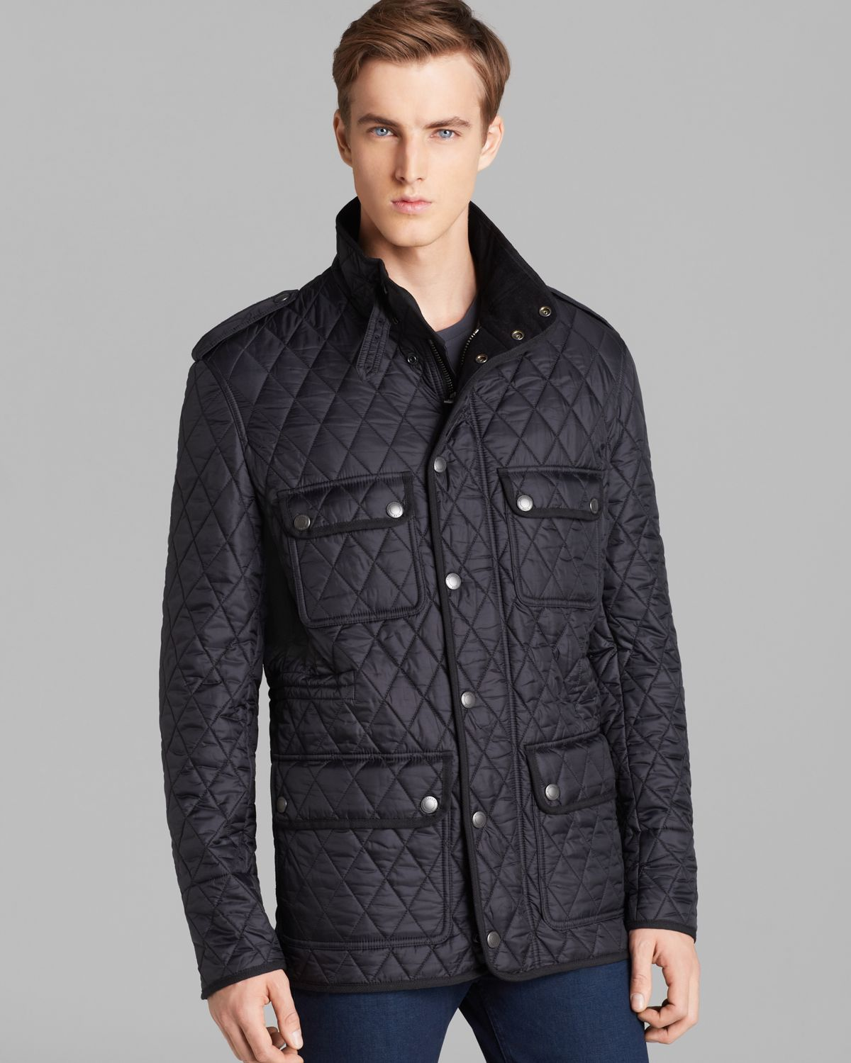 Burberry brit russel diamond quilted jacket in black for for Mens big and tall burberry shirts