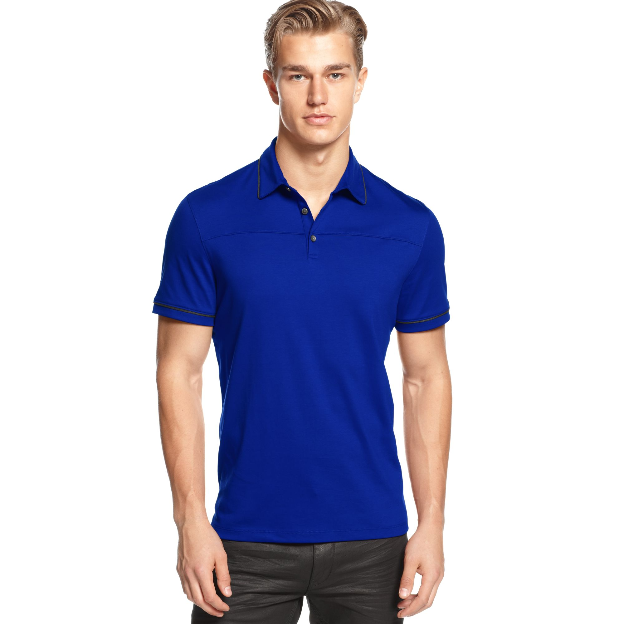 Calvin Klein Macys Exclusive Solid Tipped Polo Shirt In